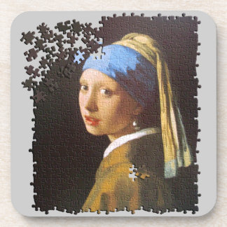 The Pearl Earring puzzle Drink Coaster