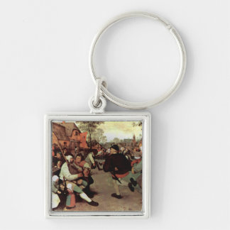The Peasant Dance - 1568 Silver-Colored Square Keychain