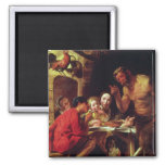 The Peasants and the Satyr 2 Inch Square Magnet