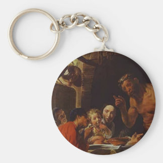 The Peasants and the Satyr by Jacob Jordaens Key Chains