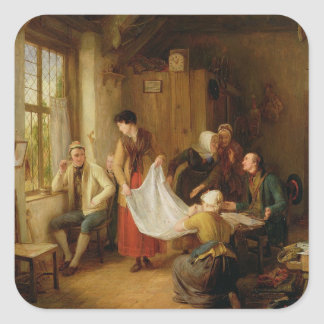 The Pedlar, 1814 (oil on panel) Square Sticker