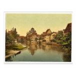 The Pegnitz shore and synagogue, Nuremberg, Bavari Postcard