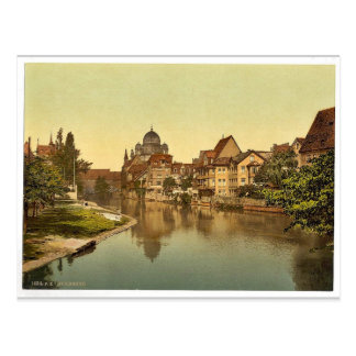The Pegnitz shore and synagogue, Nuremberg, Bavari Post Cards