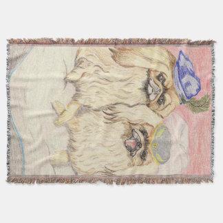 The Pekingese Couple Throw Blanket