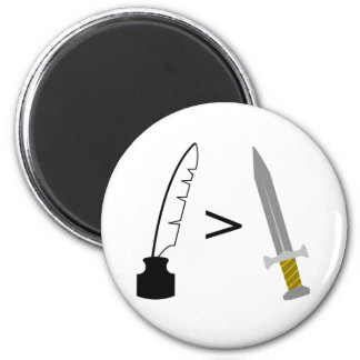 The Pen is mightier than the Sword 2 Inch Round Magnet