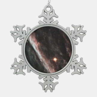 The Pencil Nebula- Remnants of an Exploded Star Snowflake Pewter Christmas Ornament