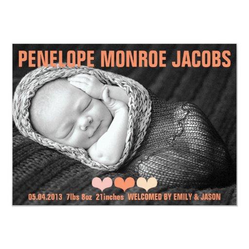 THE PENELOPE MONROE BIRTH ANNOUNCEMENT Invitation
