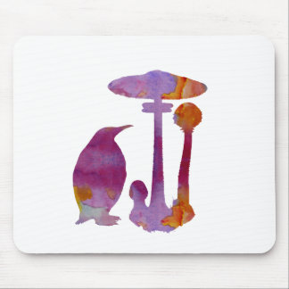 The Penguin And The Mushroom Mouse Pad