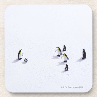 The penguins playing soccer drink coaster