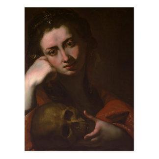 The Penitent Magdalen (Vanitas) by Jusepe Ribera Postcard
