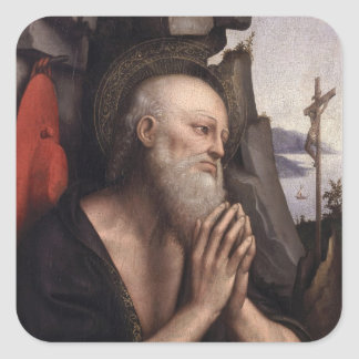 The Penitent St. Jerome Square Stickers