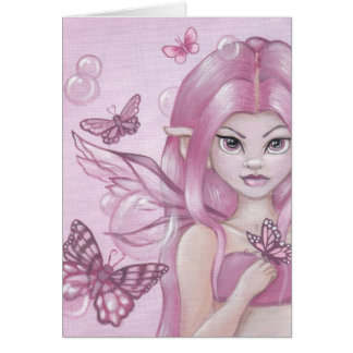 """The Peony Fairy"" fantasy blank greeting card"