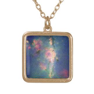 The Peony Nebula Square Pendant Necklace