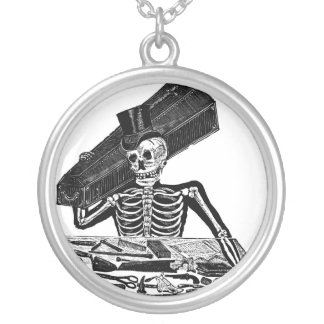 """The People's Calavera"" circa 1800's Mexico. Round Pendant Necklace"