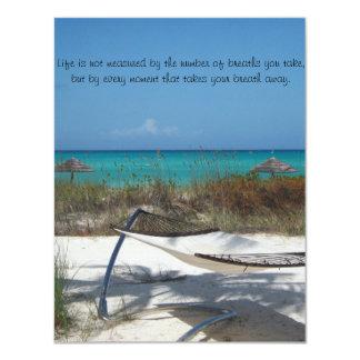 The perfect beach wedding invitation.... 4.25x5.5 paper invitation card