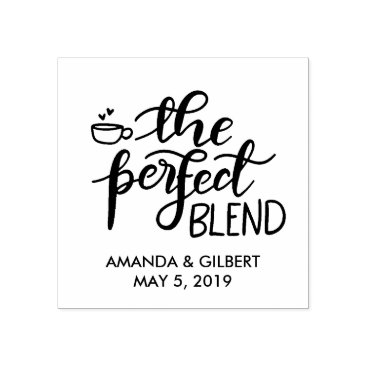Coffee Themed The Perfect Blend Handwritten Script Wedding Favor Rubber Stamp