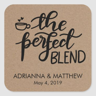 wedding_trends_now The Perfect Blend Rustic Kraft Paper Wedding Favor Square Sticker