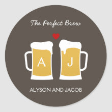 The Perfect Brew Wedding Favor Sticker/ Envelope