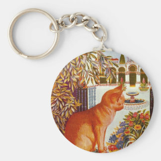 The Perfect Cat Artwork by Louis Wain Basic Round Button Keychain
