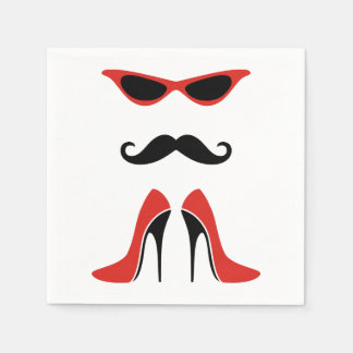 The Perfect Look in Black & Red + your idea Paper Napkin