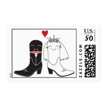 The Perfect Pair Cowboy Boots Bride and Groom Postage