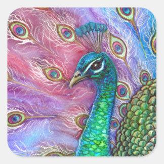 The Perfect Peacock. Square Sticker