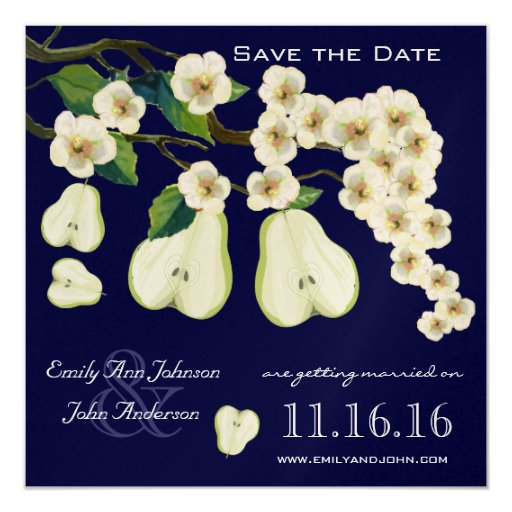 The Perfect Pear Blooming Branch Save the Date Invitation