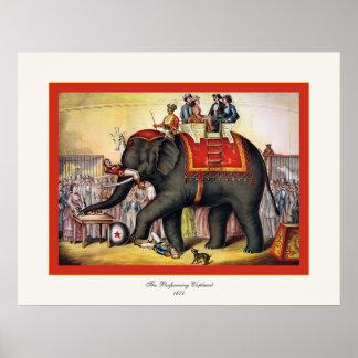 The Performing Elephant  ~ Vintage Circus Print