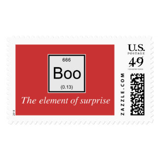 The periodic table element of surprise is Boo, Postage