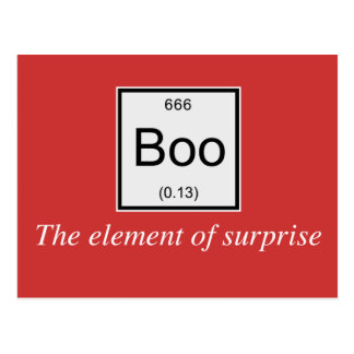 The periodic table element of surprise is Boo, Postcard