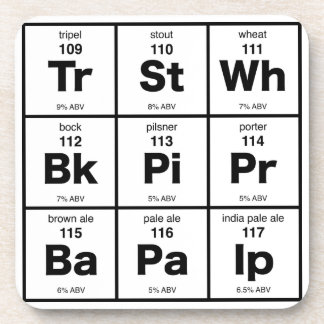 The Periodic Table of Beer Drink Coaster
