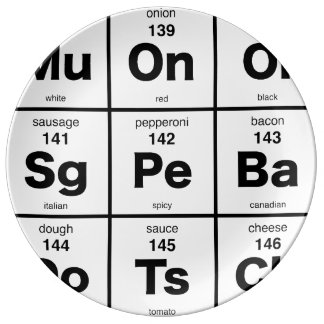 The Periodic Table of Pizza Porcelain Plate
