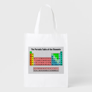 The Periodic Table (Simple w/ Element Background) Grocery Bag