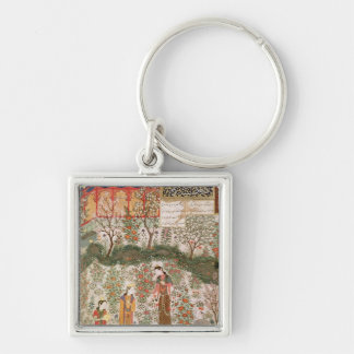 The Persian Prince Humay Meeting the Chinese Silver-Colored Square Keychain