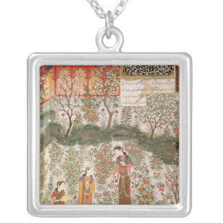 The Persian Prince Humay Meeting the Chinese Square Pendant Necklace