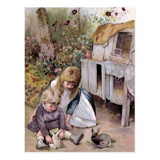 The Pet Rabbit Vintage Illustration Postcard