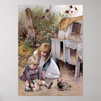 """The Pet Rabbit"" Vintage Print"