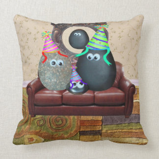 The Pet Rock Family Throw Pillow
