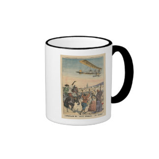 The 'Petit Journal' airplane flying over Mug
