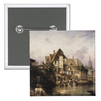 The Petits Murs Wash-House 2 Inch Square Button