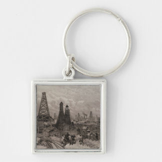 The Petroleum Oil Wells at Baku on the Caspian Keychain