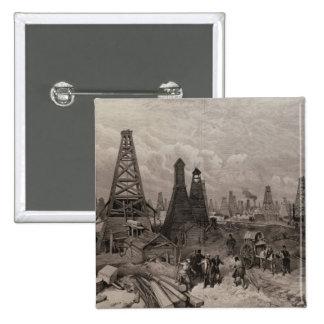 The Petroleum Oil Wells at Baku on the Caspian Pinback Button
