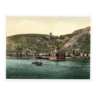 The Pfalz on the Rhine, Coub (i.e., Kaub), the Rhi Postcard