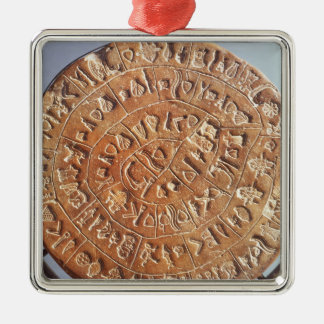 The Phaistos Disc, with unknown significance Square Metal Christmas Ornament