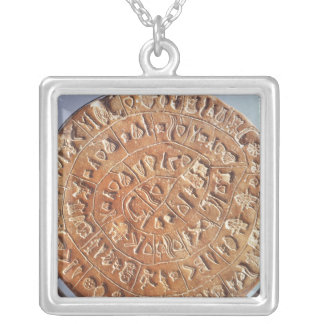 The Phaistos Disc, with unknown significance Silver Plated Necklace