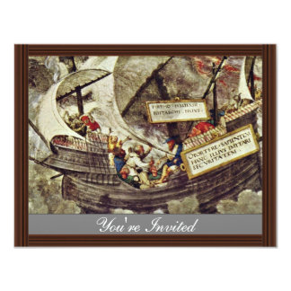 The Philosopher Pyrrho In Stormy Seas By Petrarca- 4.25x5.5 Paper Invitation Card