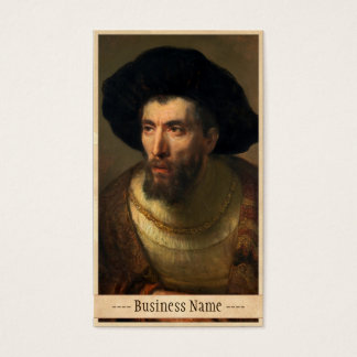 The Philosopher  Rembrandt baroque portrait art Business Card