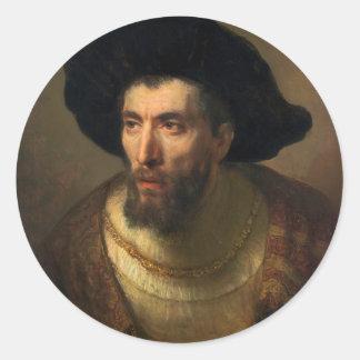The Philosopher  Rembrandt baroque portrait art Classic Round Sticker