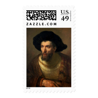 The Philosopher  Rembrandt baroque portrait art Stamps