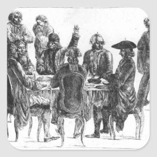 The Philosophers at Supper, c.1750 Square Sticker